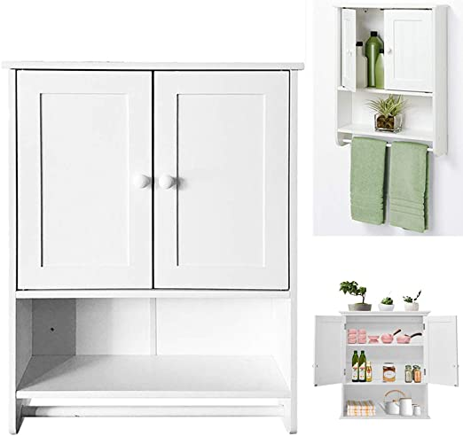 Bathroom Wall Cabinet Over The Toilet Storage Bath Organizer Rack Finish White Bath Caddies Storage Home Garden