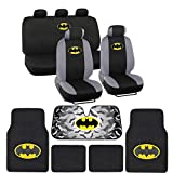 marvel automotive accessories - Batman Seat Cover, Carpet Floor Mat and Sun Shade - Warner Brothers 14 Piece Full Interior Protection Auto Accessories