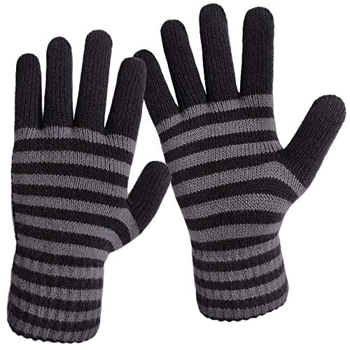 LETHMIK Thick Striped Knit Gloves,Mens&Womens Unique Knitted Warm Winter Gloves