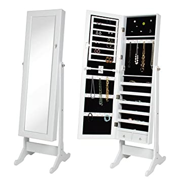best choice products mirrored jewelry cabinet armoire with stand white