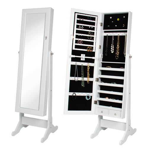 Best Choice Products Mirrored Jewelry Cabinet Armoire with Stand, White (Mirrored Shelves Box)