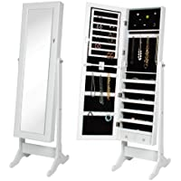 Best Choice Products Mirrored Jewelry Cabinet Armoire with Stand (White)