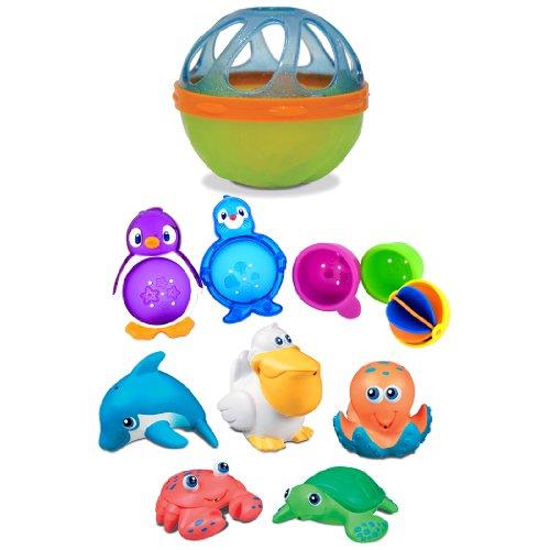 Munchkin Cinq Outres de mer avec lazy Bouées Baignoire Jouets PLUS boule baignoire bébé, les couleurs peuvent varier