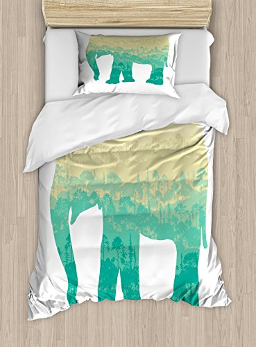 Lunarable Africa Twin Size Duvet Cover Set, Hand Drawn Composition of Elephant Tree Silhouettes Abstract Fauna and Flora, Decorative 2 Piece Bedding Set with 1 Pillow Sham, Turquoise Beige by Lunarable