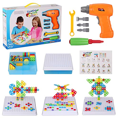 (Creative Drilling Toy with Screwdriver Tool Playset, STEM Toy Drill, Mosaic Design Building Puzzles for Boys Girls 3 4 5 6 7 8 Year Olds)