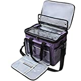 Teamoy Knitting Bag,Large Yarn Storage Tote Bag with a Cover, Inner Divider (Sewn to Bottom) for Yarn and Unfinished Project,Purple