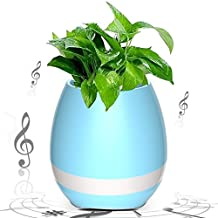 Sunroyal Smart Music Flower Pot,Creative Gift Touch Plant Piano Music Playing Flowerpot Multi-Color LED Night Light Round Plant Pots Wireless Speaker with Bluetooth for Home Garden