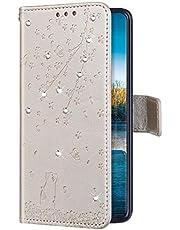Uposao Funda con Tapa para Huawei Honor 9 Lite Cuero Piel Sintética,Bling Glitter Purpurina Diamante Funda Flores de Cerezo Gato Patrón Billetera Bookstyle Flip Case Carcasa Caja Teléfono,Oro