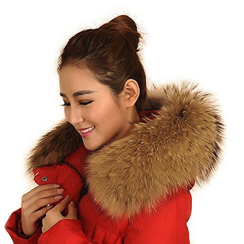 Vemolla Woman's Winter Raccoon Fur Shawl Scarf Collar for Hooded Edges (Genuine Raccoon)