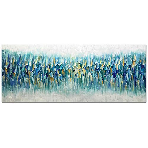 Amei Art Paintings,24x60Inch 3D Hand-Painted On Canvas Abstract Blue Gloden Frameless Oil Paintings Seascape Artwork Simple Modern Home Decor Wall Art Large Size Thick Texture Knife - Hand Blue Painted Art