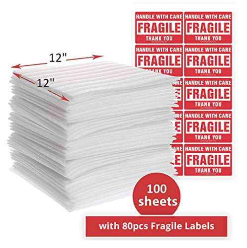 "enKo 12"" x 12"" (100-Pack) Foam Wrap Sheets Protect Glasses, China, Dishes for Moving Shipping Packing & Storing with 80pcs of Fragile Labels"