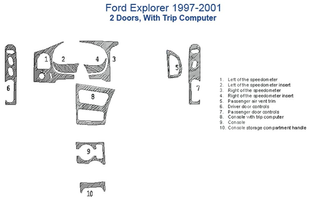 Ford Explorer Dash Trim Kit, 2 Doors, With or Without Trip Computer - Oxford Burlwood