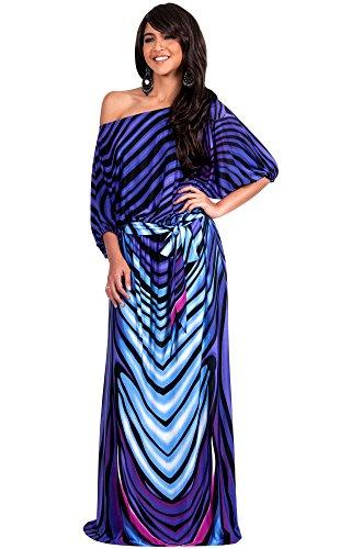 Koh Koh Women's One Shoulder Bright Abstract Print Elegant Cocktail Maxi Dress - Small - Purple