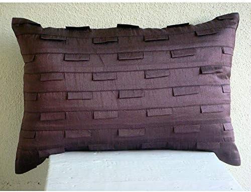 The HomeCentric Handmade Plum King Shams, Solid Color Pintucks King Pillow Shams, 20×36 inch 50×90 cm Silk King Shams, Modern King Shams – Plum Stripe