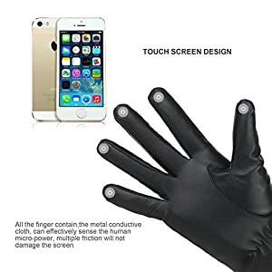 Winter Women's Touchscreen Texting Driving Warm Pu Leather Gloves, Fleece Lining Warm Gloves for Women, Black, Medium