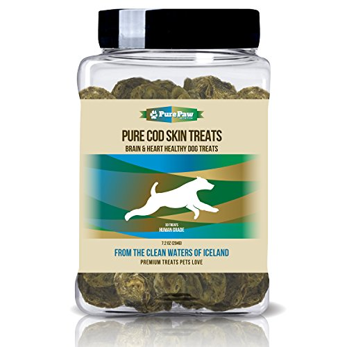 Pure Cod Skin Dog Treats Wild Fish From the Organic Habitat of Iceland Protein-Rich Snacks Support a Healthy Brain Heart Skin & Coat for Your Loyal K9 (Fish Sticks Treat)