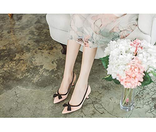 3 Tacchi Da Donna Single Hwf Moda Con Mouth Tacco Fiocco Pink Shoes Shallow Pink 5 Cm Sposa Altezza Scarpe Dimensioni 36 Alti Fine colore Tv0wq