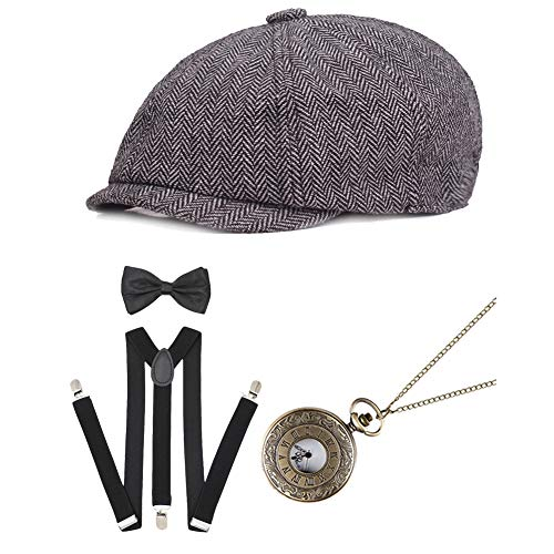 ICEVOG Mens 1920s Accessories Set Gatsby Gangster Costume Panama Manhattan Fedora Newsboy Cap Hat Suspenders Garters Spats, Style A-Light ()