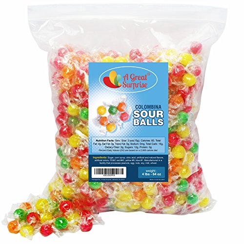 Sour Balls Hard Candy - Colombina Hard Candy - Sour Fruit Balls Assorted Candies, 4 LB Bulk Candy ()