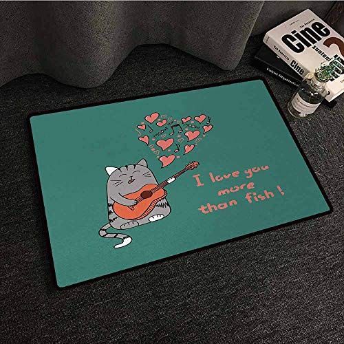 DILITECK Interior Door mat I Love You More Cartoon Singing Cat with Guitar More Than Fish Song Music Notes and Hearts Anti-Fading W35 xL47 Multicolor]()