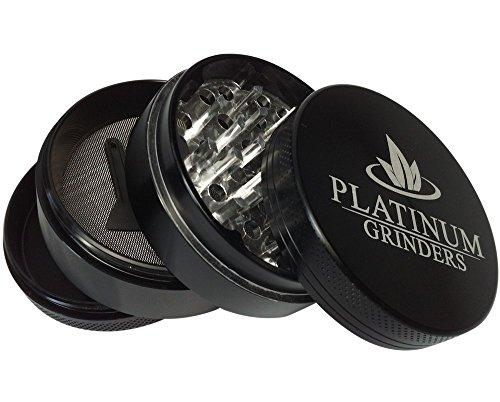 Platinum Grinders Herb Grinder with Pollen Catcher - Large 2.5 Inch 4 Piece, Black Aluminum by Platinum Grinders (Image #1)