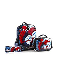 """Mavel Ultimate Spiderman Multicolored Kids Backpack 15"""" with Detachable Lunch Kit Box and Pencil Case"""