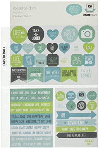 Kaisercraft CM503 Captured Moments Pocket Paper Sticker, 6.75-Inch by 8.5-Inch, Sea Breeze