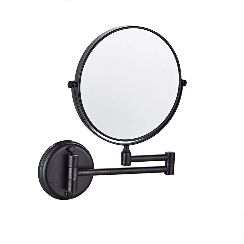 TLMYDD Punch-Free Wall-Mounted Black Bathroom Vanity Mirror Folding Magnifying Glass Double-Sided Multi-Size Cosmetic Mirror (Size : M)