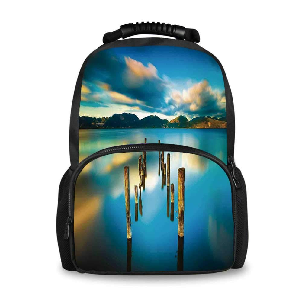 Scenery House Decor Adorable School Bag,Surreal Landscape with Wood Deck and Clouds in Sky Coastal Charm for Boys,12''L x 7''W x 17''H