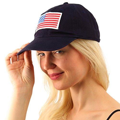 Navy Blue Campus Hat (Everyday Comfy Patriotic USA Flag Cotton Baseball Sun Visor Cap Dad Hat)