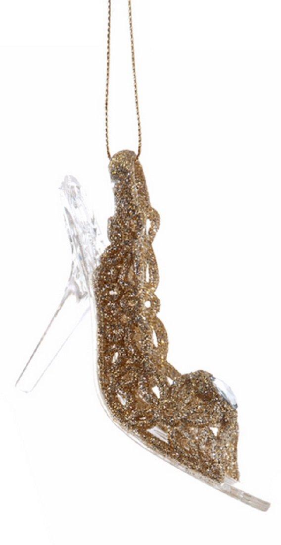 Glass Slipper Look Resin Ornament with Sparkle Finish B01KKKODYS  Flower Pattern