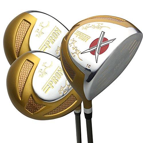 (Japan Epron Gold Titanium Driver and 3 5 Fairway USGA R A Rules Golf Club Wood Set+Headcover(Regular Flex,10 15 18 Degree,Grip 0.6,Pack of 3))