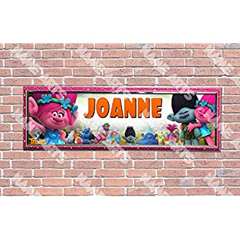 Personalized//Customized Trolls Movie Name Poster Wall Art Decoration Banner