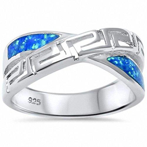 Greek Key Crisscross Infinity Ring Created Blue Opal 925 Sterling Silver,Size-6 ()
