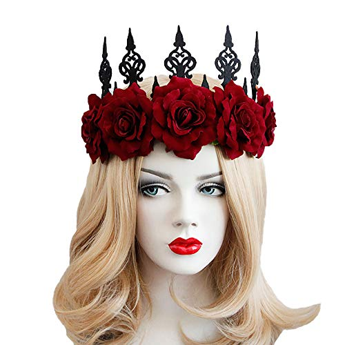 (Rose Noir Women Girls Black Gothic Rose Lace Headband Spiderweb Witch Hair Accessories Halloween Christmas Party Headwear (Rose)