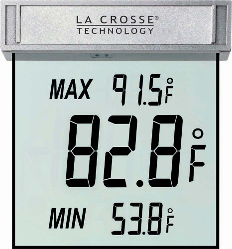 La Crosse Technology WS-1025 Digital Window Thermometer with Detachable Bracket and Records MIN/MAX Temp & Auto Reset ()