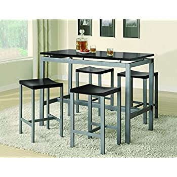 4 piece dining set tall coaster 5piece metal dining set with barstools silverblack amazoncom barstools