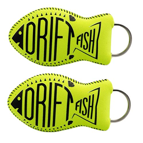 (DriftFish Floating Neoprene Boat Keychain Key Float | Jumbo Size - Float 5 to 6 Keys | Waterproof Key Chain Buoy | Great for Boating and Water Sports, Green, 2 Pack )