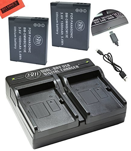 BM 2 Pack of DMW-BCM13E Batteries and Dual Battery Charger for Panasonic Lumix DC-TS7,DMC-FT5A, LZ40, TS5, TS6, TZ37, TZ40, TZ41, TZ55, TZ60, ZS27, ZS30, DMC-ZS35, DMC-ZS40, DMC-ZS45, DMC-ZS50 Camera