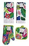 Mainstay Home Mainstays Summer Tropical Kitchen Towels, Oven Mitt, and Potholder 4 Piece Bundle Set (Flamingo)