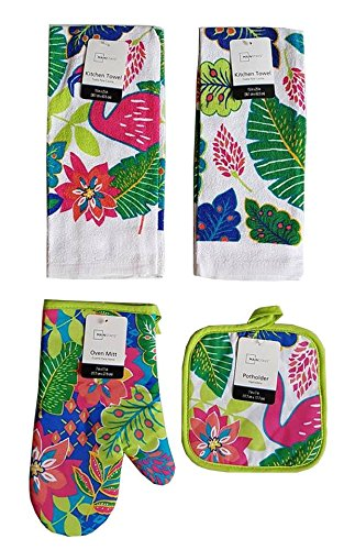 Mainstay Home Mainstays Summer Tropical Kitchen Towels, Oven Mitt, and Potholder 4 Piece Bundle Set (Flamingo)