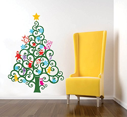 PopDecors Wall Decals & Stickers - Happy Christmas Tree Wall Decal (59''H) -Holiday Sticker Kids Love Christmas Ornaments Candy Cranes Wall Decors PT-0219