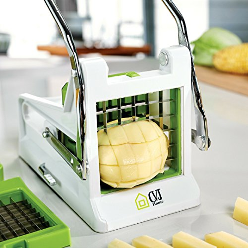 Potato Cutter French fry cutter Best Manual Plastic Professional Potato Slicer With 2 Interchangeable Blades Use for Vegetables Like Cucumber, Carrot & More