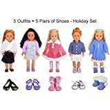 5-Set 18 inch Doll Clothes + 5 Pairs of Shoes American Doll Clothes and Accessories