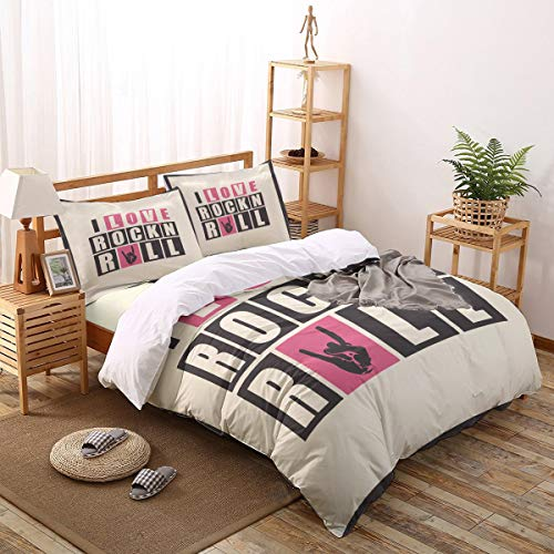 Twin Bedding 4 Piece Funny Words Pattern Duvet Cover Set, (1 Comforter Cover + 1 Sheet + 2 Pillowcase), Comfortable Hypoallergenic - I Love Rockn Roll]()