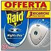 Raid Night & Day Ricarica, Antizanzare Elettrico, Repellente Zanzare Inodore a Sabbia Compressa, Confezioni da 3 x 1 Ricarica 4 spesavip