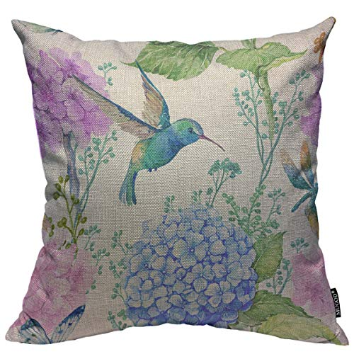 Mugod Bird and Floral Decoration Throw Pillow Cushion Covers Watercolor Flowers Butterflies and Hummingbird Decorator Funny Pillows for Sofa Fall Home Decor Couch Pillow Case 18 X 18 Inch ()