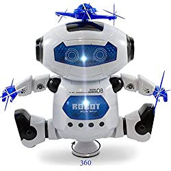 Kidsthrill Dancing Robot –Musical And Colorful Flashing Lights Kids Fun Toy Figure – Spins And Side Steps