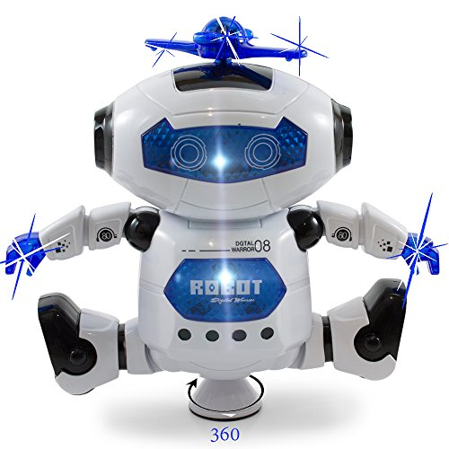 obot -Musical and Colorful Flashing Lights Kids Fun Toy Figure - Spins and Side Steps ()