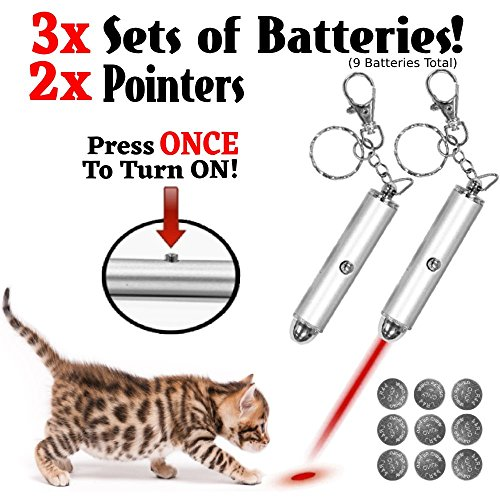 Animmo 2x Cat Light Pointers Batteries Included for Both Plus Individually Tested for Proper Function, Stays On (with One Click), Interactive Bright Exercise Training Tool Fun Cat Dog Chaser (Proper Training)